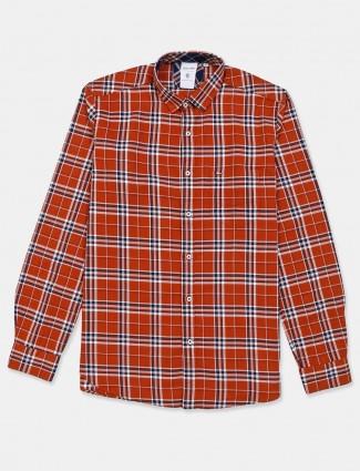 Killer red checks cotton shirt slim fit