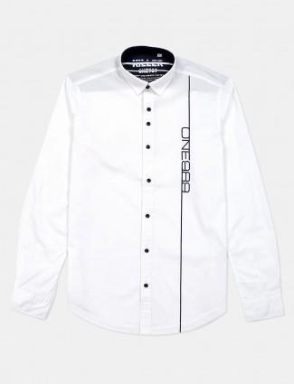 Killer white printed cotton shirt for mens