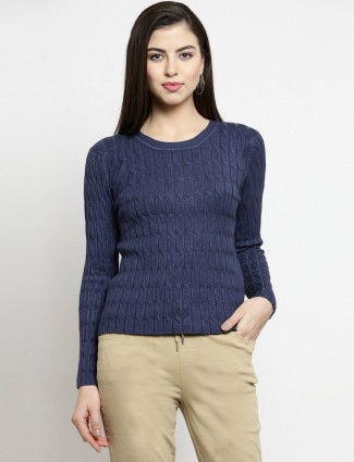 Knitted texture navy blue top in casual style