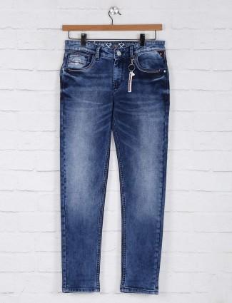Kozzak sky blue regular casual mens jeans