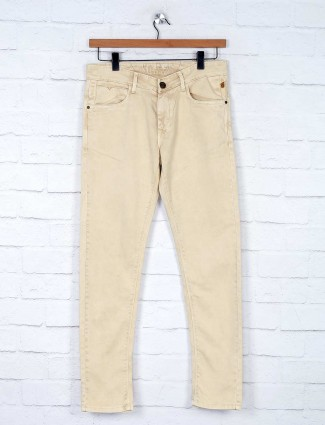 Kozzak slim fit solid khaki jeans