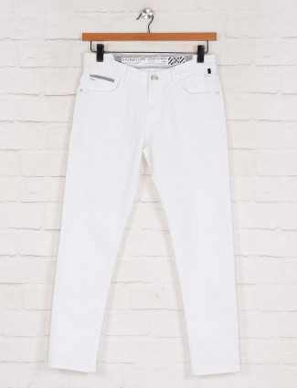 Kozzak solid white skinny fit casual jeans