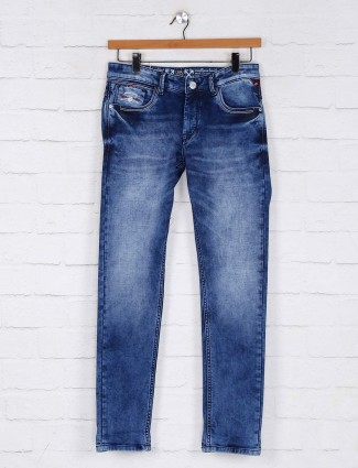 Kozzak washed dark blue casual jeans