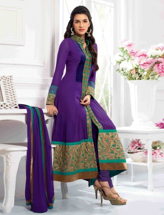 Kriti Sanon attractive purple ready made wedding georgette anarkali suit