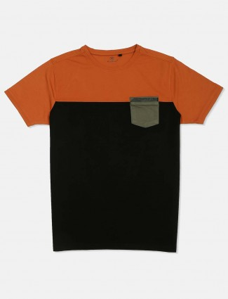 Kuch Kuch casual orange and black solid t-shirt