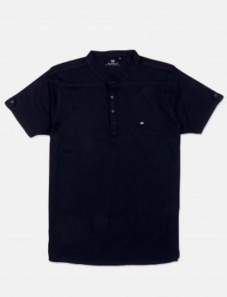 Kuch Kuch half sleevs navy solid t-shirt