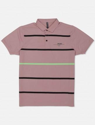 Kuch Kuch pink stripe polo neck t-shirt