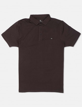Kuch Kuch polo neck brown solid t-shirt