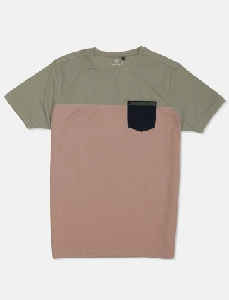 Kuch Kuch rust olive and peach solid cotton t-shirt