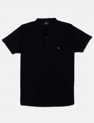 Kuch Kuch solid black round neck cotton t-shirt