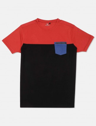 Kuch Kuch solid red and black round neck cotton t-shirt