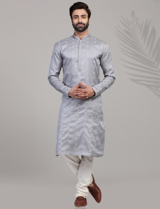 Kurta suit in grey cotton silk