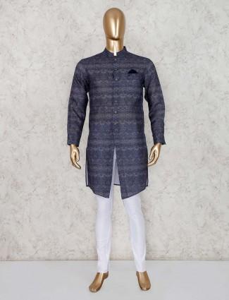 Kurta suit in navy cotton fabric