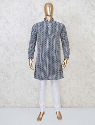 Lakhnavi thread grey georgette kurta suit