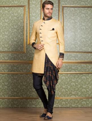 Lamon yellow silk party indo western