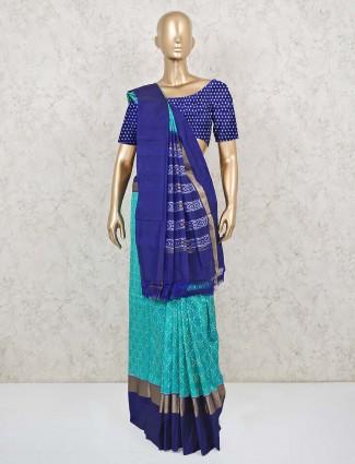 Latest aqua and blue patola silk saree