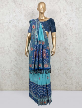 Latest Aqua saree for wedding session in semi silk