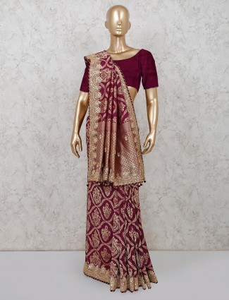 Latest banarasi silk purple saree for reception