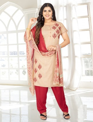 Latest beige cotton punjabi salwar suit set with half sleeve