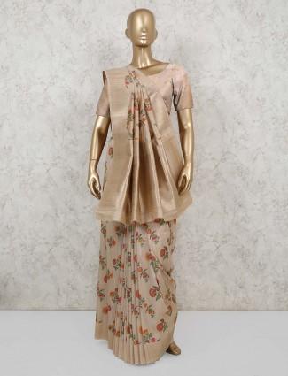 Latest beige semi banarasi silk for party