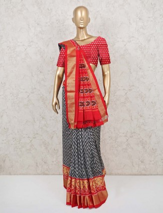 Latest black and red patola silk saree for wedding function