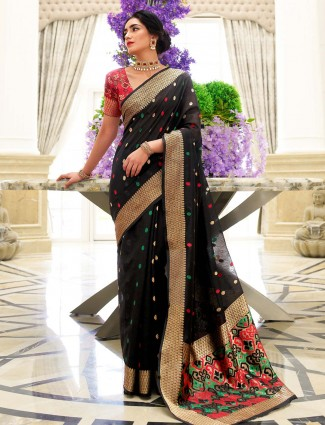 Latest black chanderi cotton festive saree