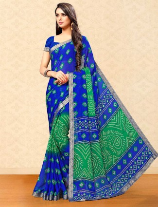 Latest blue bandhej print georgette saree for festival