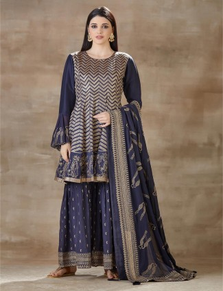 Latest Blue cotton sharara set for party look