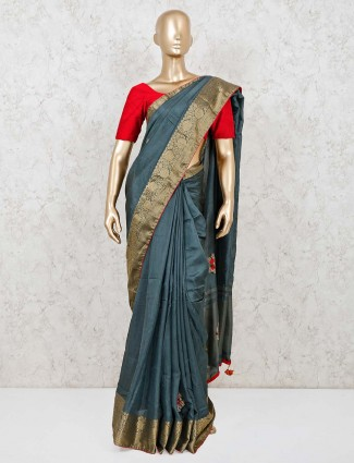 Latest blue cotton silk festive wear saree