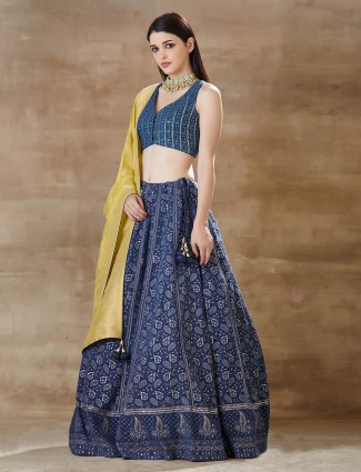 Latest Blue georgette lucknowi lehenga choli for wedding