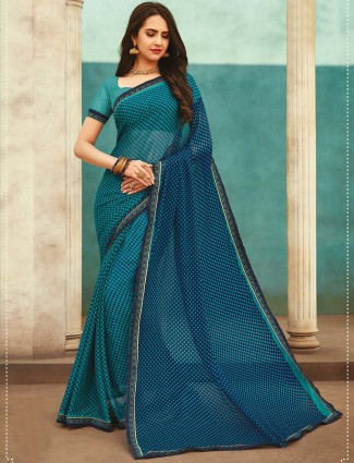 Latest blue printed saree in georgette for festival