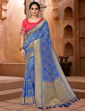 Latest blue semi banarasi silk saree for festive