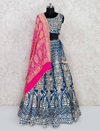 Latest blue silk wedding lehenga choli