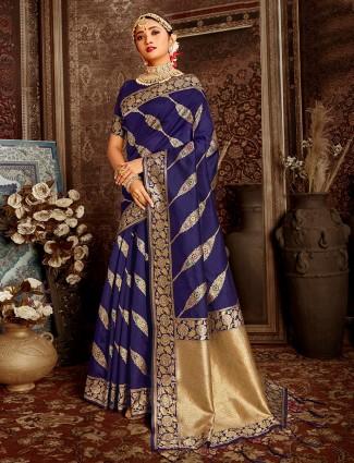 Latest blue wedding wear handloom banarasi silk saree