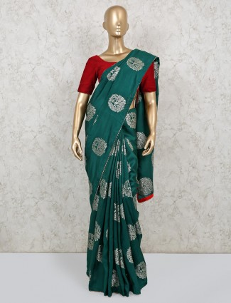 Latest bottle green dola silk with nice pallu