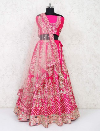 Latest bridal magenta semi stitched lehenga choli