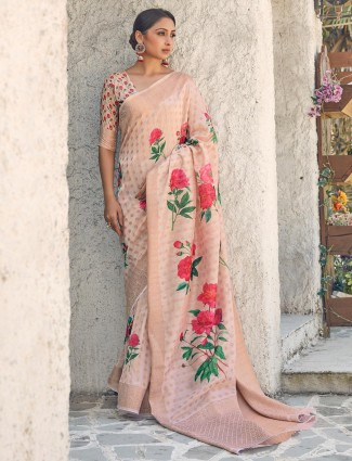 Latest cotton silk saree in beige for wedding
