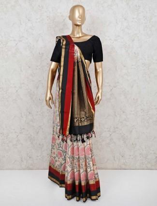 Latest cream patola silk saree for weedding