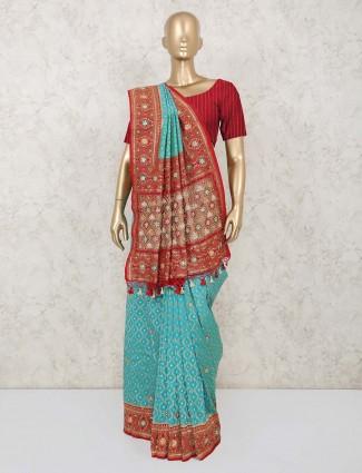 Latest designer aqua blue saree in banarasi silk