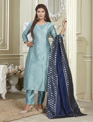 Latest designer festive solid cotton sea green punjabi suit