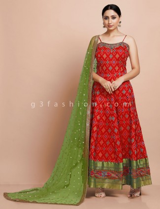 Latest designer red anarkali suit in patola silk