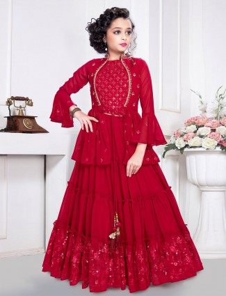 Latest designer red georgette party wear sharara suit