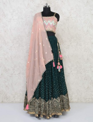 Latest georgette green wedding lehenga choli
