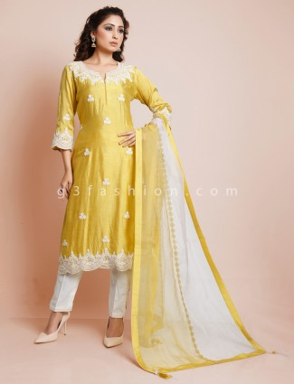 Latest gold hue punjabi pant suit