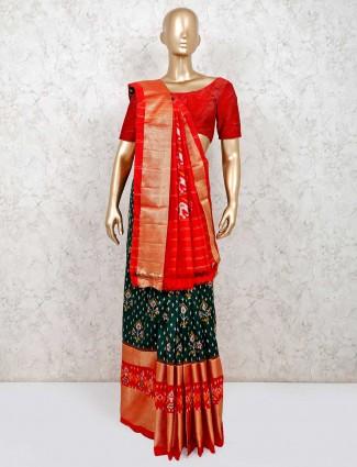 Latest green and orange wedding session saree in hydrabadi patola silk
