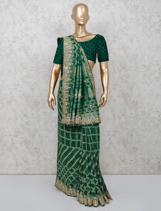 Latest green bandhej saree for bridal wear
