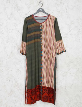 Latest green cotton festivals wear kurti