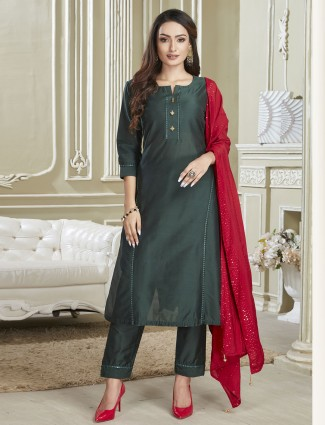 Latest green cotton punjabi salwar suit for festives