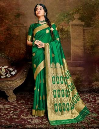 Latest green handloom banarasi silk saree for wedding days