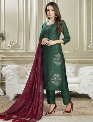 Latest green punjabi cotton salwar suit for festives